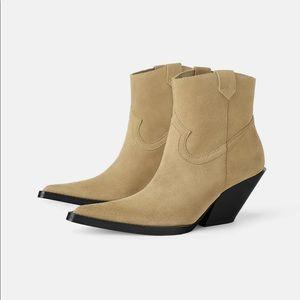 Zara Leather Heeled cowboy Ankle boots